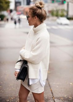 Sweater: skirt black bag oversized all white everything white turtleneck