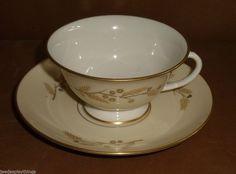 Franciscan ACACIA Gold Trim Tea Cup and Saucer Set C. 1964 FREE US Shipping #Franciscan