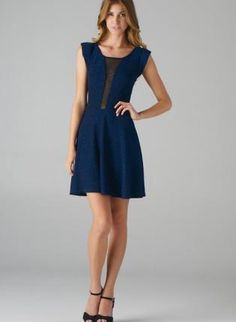 Blue Fit and Flare Dress with Mesh Panel Insert Sleeves,  Dress, sparkle dress  fit and flare, Chic