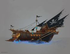 Such an epic pirate ship Pirates Hadagan by genek on deviantART Steampunk Ship, Arte Steampunk, Steampunk Pirate, Steampunk Design, Pirate Ship Drawing, Zeppelin, Bateau Pirate, Space Pirate, Architecture Tattoo
