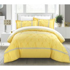 Chic Home Veronica 12-Piece Bed in a Bag, Comforter Set with 4-piece sheet set, Yellow/Grey