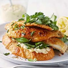 Flounder has a firm texture and a mild, sweet taste. Tilapia, grouper, or catfish would be equally delicious in this fish sandwich./