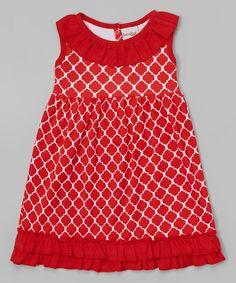 Barefoot Blanks Ruffle Dress in Red Quatrefoil-