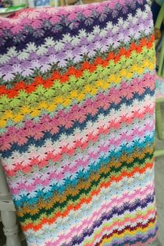 """Fruit Cocktail"" Crochet blanket color stripes, aka Fancy Shells."