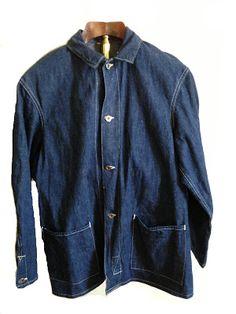 vintage workwear: Vintage CANTRIPUM Two Pocket Selvedge Denim Jacket and Antique Flange Sign