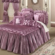Marquis Orchid Haze Ruffled Flounce Oversized Bedspread in 2019 Bed Cover Design, Bed Design, Home Design, Designer Bed Sheets, Pretty Bedroom, Lilac Bedroom, Royal Bedroom, Bedroom Accessories, Marquis