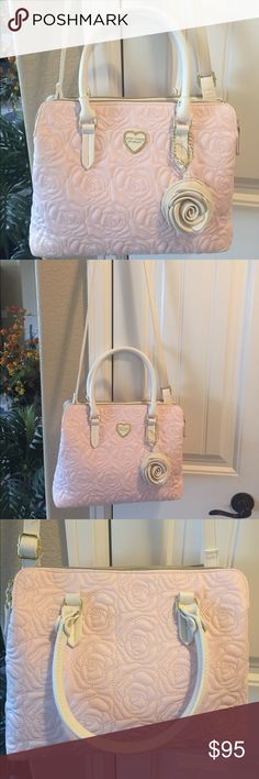 "NEW! BETSEY JOHNSON ROSE QUILTED SATCHEL BRAND NEW! AUTHENTIC BETSEY JOHNSON ROSE QUILTED BLUSH SATCHEL-NWOT!!-Approximate Measurements are 12""-13"" X 10"" X 4"", with a an adjustable detachable strap...Many Compartments as pictured.... Betsey Johnson Bags Satchels"