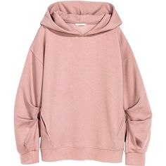 Oversized hooded top (£18) ❤ liked on Polyvore featuring tops, hoodies, sweaters, hoodies and sweaters, pink long sleeve top, pink top, ribbed top, drop shoulder tops and oversized hoodies
