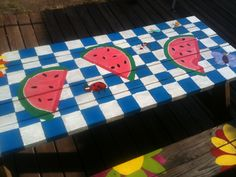 Cute picnic table we painted.