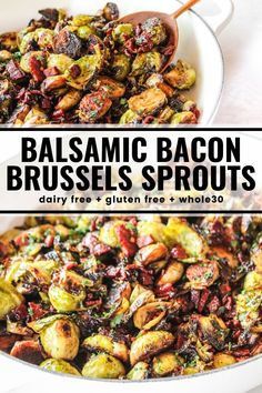 dinner side dishes These flavorful brussels sprouts saut quickly with bacon, garlic, and balsamic vinegar. They are seriously addictively delicious! Veggie Side Dishes, Vegetable Dishes, Side Dish Recipes, Vegetable Recipes, Paleo Side Dishes, Best Side Dishes, Bacon Recipes, Cooking Recipes, Healthy Recipes