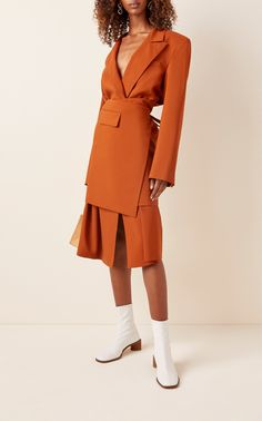 Shop Wrap-Effect Wool Midi Dress. artfully deconstructs a classic double-breasted blazer with this wool midi dress. Fashion 2020, Look Fashion, Korean Fashion, High Fashion, Womens Fashion, Fashion Trends, Crazy Fashion, Vogue Fashion, Fashion Details