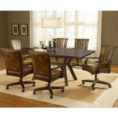 Hillsdale 4379DTBRTCC7 Grand Bay Rectangle Dining Set With Caster Chair    Cherry