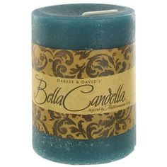 "$6.99  Darsee & David's 3"" x 4"" Turquoise Tranquil Waters Bella Candella Distressed Pillar Candle 