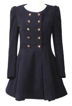 Navy Round Neck Skirt Hem Military Wool Coat on sale for $39!