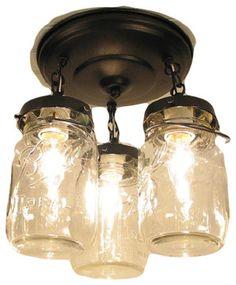 Vintage Mason Jar CEILING LIGHT Trio, Oil Rubbed Bronze farmhouse-kitchen-lighting-and-cabinet-lighting