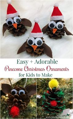 Easy Christmas Ornaments, Decoration Christmas, Christmas Projects, Christmas Tree Ornaments, Christmas Diy, Pinecone Ornaments, Beaded Ornaments, Pinecone Decor, Pinecone Crafts Kids