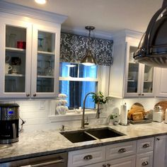 Faux Roman Shade/ Lined Mock Valance/ Premier Prints Traditions/ White-Storm Grey/ Custom Sizing Available! Kitchen Furniture, Decorative Curtain Rods, Home, Faux Roman Shades, Kitchen Remodel, Interior Renovation, Custom Curtains, Kitchen, Valance