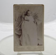 Antique Cabinet Card Photograph Infant Christening Longdon Portrait Wisconsin 31