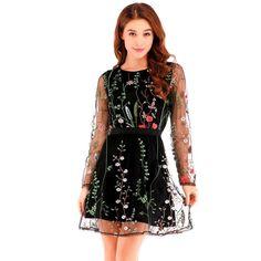 40afd46b68f Floral Embroidery Sheer Mesh Womens Boho Mini Dress