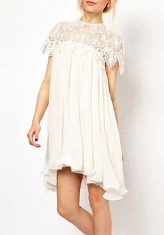 White Embroidery Hollow-out Pleated Falbala Chiffon Dress