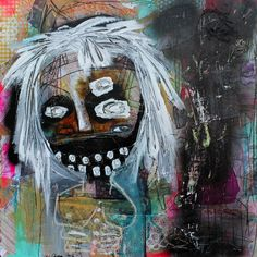 Abstract Portrait Art Print. outsider art art brut by crudeart