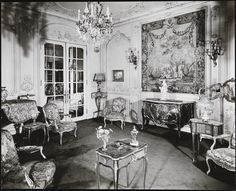 The second floor salon of the Edward Nathaniel Herzog Mansion was furnished with antique French furniture and tapestries