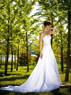 Strapless A-line / Princess Wedding Dress with Removable Shrug   A-line/Princess, Floor Length, Natural, Chapel Train, Strapless, Sleeveless, Appliques, Zipper, Satin, Church, Hall, Spring, Summer,