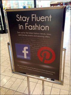 Social Media Stay Fluent in Fashion sign. #truestory #socialmedia #socialmarketing