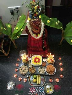 Varalakshmi Vratham 2019 honours the most popular Goddess Maha Lakshmi. Varalakshmi Puja or homam on this day means abundant wealth is sure to come your way. Tulasi Plant, Tulsi Vivah, Festival Decorations, Table Decorations, Shiva Parvati Images, Puja Room, Goddess Lakshmi, Couple Photography Poses, God Prayer