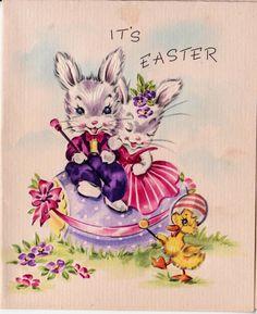 Vintage It's Easter Bunny Greetings Card (B8)