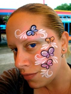 (Face Painting) by Catherine Pannulla Girl Face Painting, Face Painting Designs, Painting For Kids, Paint Designs, Face Paintings, Easter Face Paint, Butterfly Face Paint, Cheek Art, Small Faces