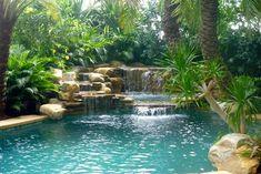 Waterfall and tropical garden - tropical - swimming pool & hot tub Natural Swimming Pools, Swimming Pools Backyard, Ponds Backyard, Swimming Pool Designs, Pool Landscaping, Tropical Pool, Tropical Garden, Piscina Interior, Lagoon Pool
