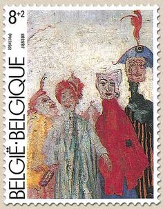 Belgian Stamps Culture : Musea of Modern Art of Brussels.Les Masques Singuliers - James Ensor