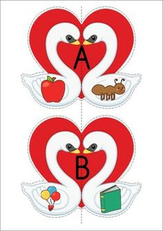 Beginning Sounds Swans - A Valentine's Day Literacy center with cut and paste worksheets. Teaching The Alphabet, Alphabet For Kids, Preschool Kindergarten, Preschool Activities, Valentine Theme, Valentines, Jolly Phonics, Thing 1, Beginning Sounds