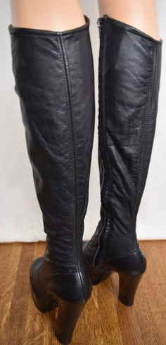 Picture 8 of 10 Stiletto Boots, Heeled Boots, Human Leg, Black Image, Hippie Boho, Calves, 1970s, Black Leather, Legs