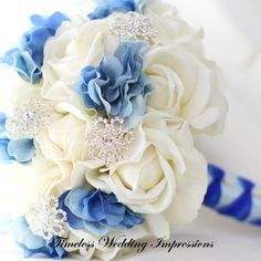 Winter Wedding Bouquet Blue Bridal Snowflake by TimelessWedding
