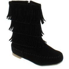 Shoes of Soul Kids Short Fringe Boots, Girl's, Size: 7, Black