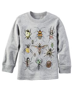 Crafted in soft cotton jersey with critter graphics, he'll bug out over this long-sleeve tee! Pair with his favorite denim for a go-to style.