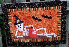 Skeleton Halloween Quilt Block: Free Pattern Available on Craftsy.com