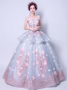 60c89cd8eb 2018 A-line Long Prom Dresses Nateau Applique Prom Dress Evening Dresses  AMY419. Peplum GownQuince DressesBall DressesFormal DressesQuinceanera ...