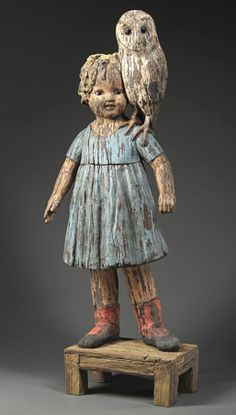 Owls on Our Shoulders, Margaret Keelan doll sculpture