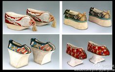 These shoes were used during the Qing dynasty. These shoes were smaller than usual as these are for the foot binding
