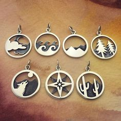 These new pendants are flying out the door🌵🌲🌙☁️🌊. Head over to our new style section on our website to check out all of our new and… Cute Jewelry, Metal Jewelry, Silver Jewelry, Jewelry Accessories, Jewelry Design, Fancy Jewellery, Fashion Earrings, Fashion Jewelry, Gravure Laser