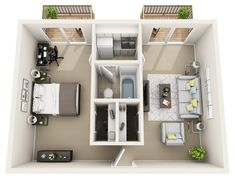 College Park at Midtown Home Building Design, Home Design Plans, House Design, Sims House Plans, Dream House Plans, Small Apartment Plans, Fully Furnished Apartments, Built In Dresser, Studio Apartment Layout