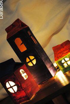 milk carton houses - perfect for Halloween :)