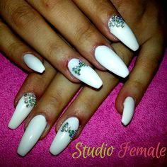 Cute nails make our day! #loveit #nailart #white #long #design #bowtie #strass #detail #nailartlover #nailartfantastic #nailporn #nailsalon #nailswag #skg #thessaloniki #beautysalon #naildesign #nailpolish #nails_greece #nailsoftheday #nailaddict #studiofemale