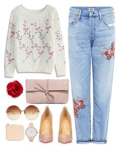 """""""Flowers"""" by cowseatchard ❤ liked on Polyvore featuring Chicwish, Citizens of Humanity, Christian Louboutin, LULUS, Cara, Linda Farrow, Olivia Burton and Sagan"""