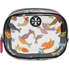 Tory Burch Women Fish Printed Round Pvc Cosmetic Case (495 PLN) ❤ liked on Polyvore featuring beauty products, beauty accessories, bags & cases, multi fish, toiletry bag, travel toiletry case, cosmetic purse, tory burch makeup bag and cosmetic bags