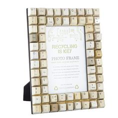 Cream retro computer key photo frame : interesting way to recycle an old keyboard