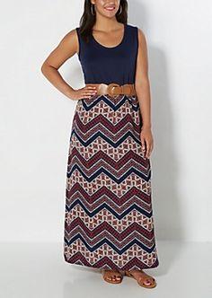 Plus Belted Tribal Chevron Tank Maxi Dress